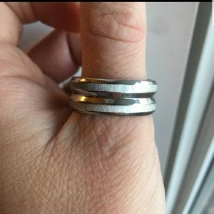 Mens silver band ring
